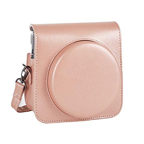 Phetium Schutztasche Kompatibel mit Instax SQ 6 Ex D Sofortbildkamera, Kameratasche mit Weichem PU Leder Material und Schulterriemen (Blush Gold)