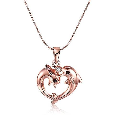 Frauen Strass Delfin Herz Form Hohl Out Anhänger Halskette Rose vergoldet Schmuck Choker Chunky Statement Body Hals Kette Halsband