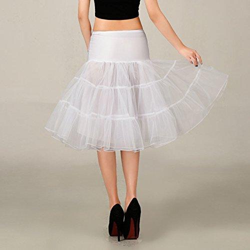 VKStar® Kurz elastische Taille petticoat Krinoline Unterrock Reifrock für Kleider Weiß