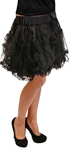 Übergröße Frauen Kostüm Disco - Petticoat 50cm Grösse S - XXXL 12 Farben Unterrock Skirt Vintage Karneval (Schwarz)
