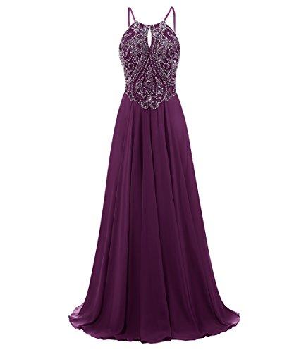 Dresstells, Robe de soirée Robe de cérémonie Robe de gala mousseline emperlée bretelles spaghetti Raisin