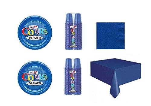 Cdc - kit n°17 coordinato monocolore blu da tavola per festa e party ed ogni ricorrenza - ( 50 piatti, 100 bicchieri , 50 tovaglioli,1 tovaglia )