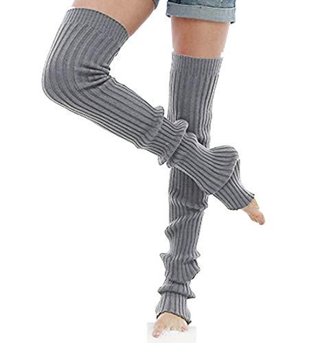 Nanxson Damen Mädchen Extra Lang Basic Leg Warmer Gestrickte Over-Knee Lange Stulpe Beinstulpe Tanzen Strumpf TTW0056 (S 80cm, grau