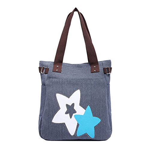 VRIKOO Women's Fashion Casual Canvas Handbag Portable Shopping Tote Shoulder Bags Blau