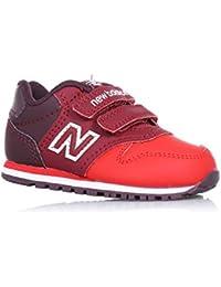 NEW BALANCE - Chaussure de sport rouge, en cuir et tissu, avec velcro, avec logo latéral et à l'arrière, coutures visibles et semelle en caoutchouc, fille, filles