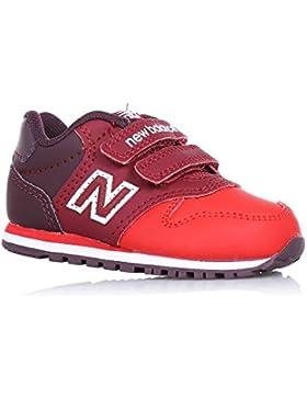 NEW BALANCE - Zapatilla deportiva roja, en cuero y tela, con velcro, con logo lateral y posterior, Niña, Niñas