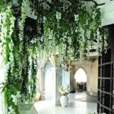 Well Art Gallery (Set of 6) Artificial Fake Flowers Vine Silk Wisteria Hanging Garland String for Party Garden & Home Decoration Garlands (110 * 37 * 1 cm (White)