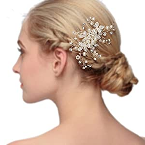 Damen Kristall Strass Perlen Haarekämmen Haarschmuck Hochzeit Handarbeit Haarkamm braut haarkamm vintage HWHS-J2590