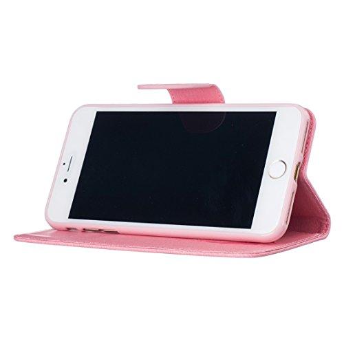 AYASHO® iPhone 7 Plus Hülle, PU Leder Brieftasche Hülle Schutzhülle Tasche Ledertasche Kartenfach Flip Cover Case Lederhülle für Apple iPhone 7 Plus (5,5 Zoll), Tiefes Blau Pink