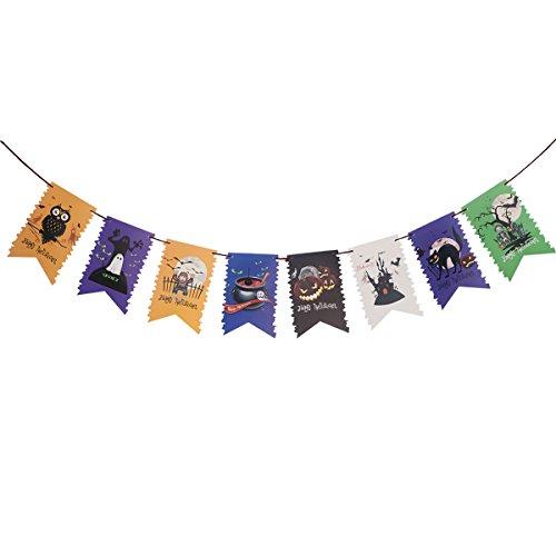 BESTOYARD Glückliches Halloween-Fahnen-Girlanden-Halloween-Thema-Karikatur-Muster-hängende Flaggen-Flaggen-Girlanden-Ausgangsbar-Partei-Dekoration 3M