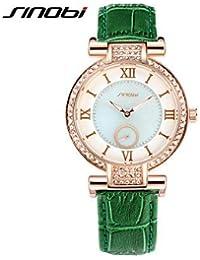 Relojes Hermosos, Mujer Reloj de Moda Cuarzo Resistente al Agua Piel Banda Verde Marca- SINOBI ( Color : Verde , Género : Para Mujer )