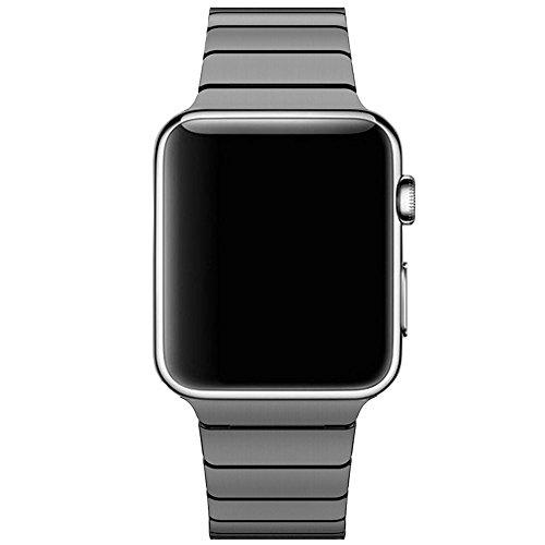 CoverKingz Edelstahl Armband ersetzt Apple Watch Series 5/4/3/2/1 Band, Gliederarmband 42mm/44mm, Metall Band Schwarz