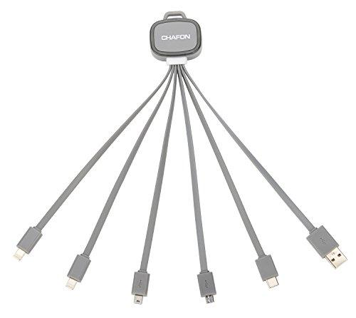 Preisvergleich Produktbild Multi Aufladeeinheit, Chafon verbesserte 6 in 1 mehrfachem USB-aufladenkabel mit USB C / 8 Stift Lightning / Micro USB / Mini USB-Häfen für iPhone 7 Plus, 7, iPad, Nexus 6P Art C Geräte und mehr- Grau