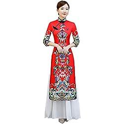 1c5c7a149 YAN Cheongsam de Las Mujeres Vestido Chino Robe Rendimiento Vestido de  poliéster 2019 Nueva Fiesta de