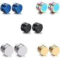 5 pares Joyería Pendientes Magnéticos de Acero Inoxidable Quirúrgico para Oído sin Agujero Punk Rock Earrings sin Plugs para Hombre Mujer Unisex 8MM