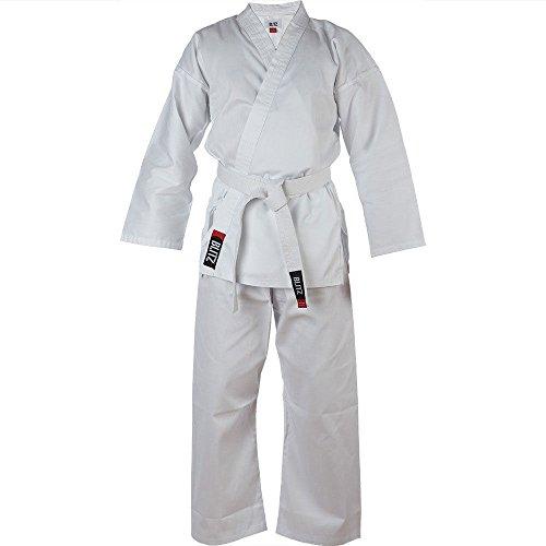 Leichte Uniform (Blitz Kinder Karateanzug/Gi-Uniform aus Polycotton, leicht, Weiß, inkl. weißem Gürtel - weiß - 140 cm)