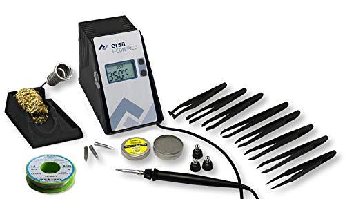 ERSA i-CON PICO digital regelbare Lötstation 80 Watt mit umfangreichen Zubehör inkl. ESD Carbon Pinzetten SET uvm. Lötkolben i-Tool Pico   Löttemperatur regelbar 150 bis 450 °C   Auto-Standby