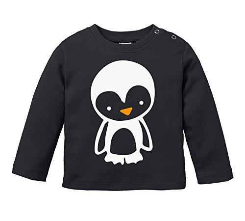 Niedliches Pinguin Motiv - Bio Baby Longssleeve (Long Shirt Nach Sleeve Unten Von Unten)
