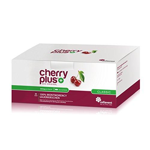 Cherry PLUS – Das Original. Montmorency Sauerkirsche: maximale Konzentration (50:1), naturrein und vegan. OHNE Zusatzstoffe und Zuckerzusatz von Cellavent Healthcare GmbH – 360 Kapseln