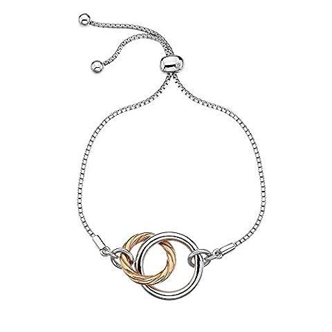Hot Diamonds Women's Rose Gold Plated Sterling Silver Twist Rope Bracelet of Length 19cm