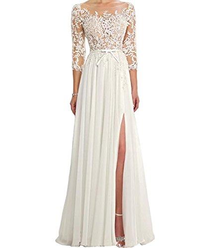 VIKEBRIDAL Damen Hohe Teilung Juwel A-Linie Chiffon Hochzeitskleid mit 3/4 Ärmel Weiß 38