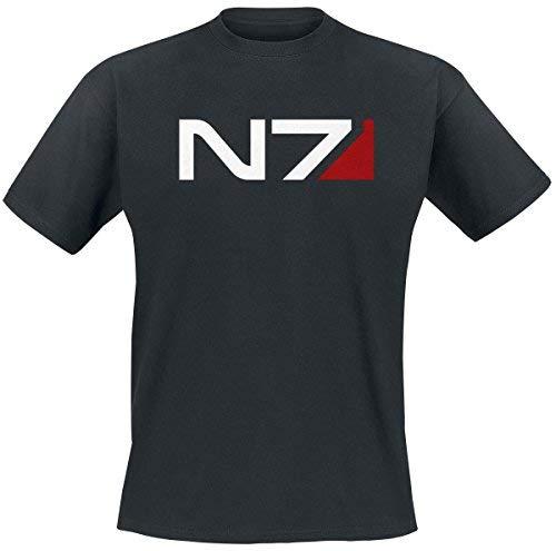 Camiseta de hombre de Mass Effect Andromeda N7 logo clásico, negro algodón - XL