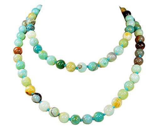 Collana multicolore, in amazzonite, forma sferica, d 10mm l 90cm