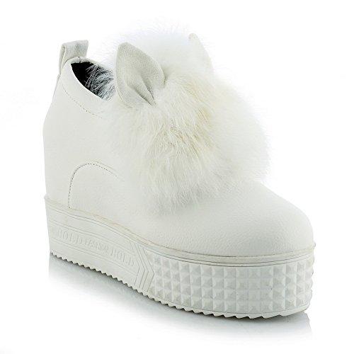 Balamasa - Escarpins À Pied Ronde Imitation Pied Pour Femme - Chaussures En Cuir Blanc