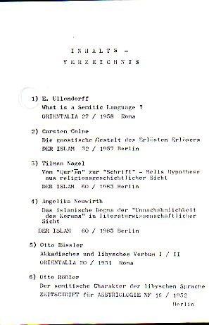 Sammlung von Artikeln aus den Zeitschriften. Orientalia, Der Islam und Zeitschrift für Assyrologie. (Kopien)