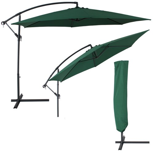 TecTake® Sonnenschirm Ampelschirm mit Metallgestell + UV Schutz 350cm grün + Schutzhülle
