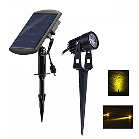 3 in 1 Solar Powered Spotlights Outdoor Lights for Patio Fence Landscape Garden Pathway (Warm