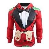 Riou Herren Langarm Hoodie Sweatshirt Slim fit Sweatjacke Kapuzenpullover Baumwoll Pullover Outwear Männer Winter Weihnachten Langarm mit Kapuze Mantel Pullover Outwear Tops (XL, Rot C)