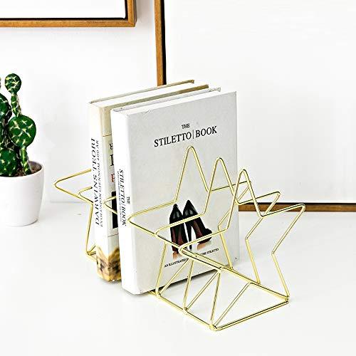 decorazione da scrivania mensole Fermalibri in metallo con linee uniche per riporre libri pentagramma oro Pentagram Rose Gold