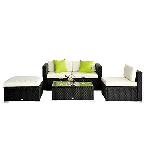 Outsunny 5pc Rattan Wicker Conservatory Furniture Garden