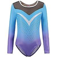 24651124cbb1 Homemust Long Sleeves Gymnastics Leotard Girls Shiny Diamond Ballet Dance  One Piece