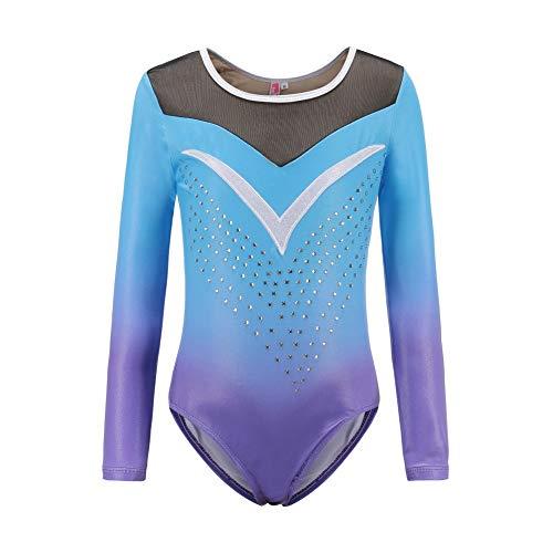 Gymnastikanzüge für Mädchen Langarm Farbverlauf Glanzanzug Tanzballett Gymnastik Athletisch für kleine Mädchen