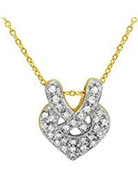 Mahi Valentine's Day Gift True Love Heart Gold Plated Pendant With CZ For Women PS1101597G
