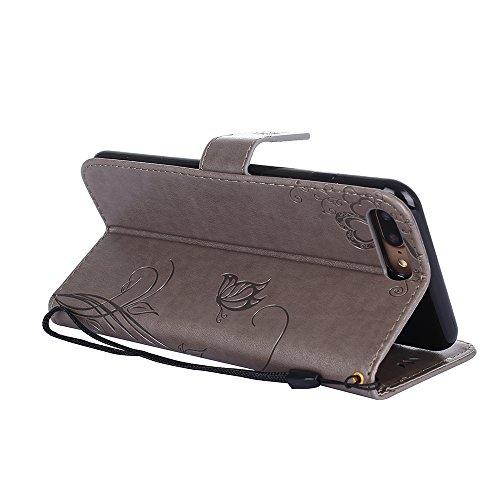Custodia in pelle per iPhone 7 Plus Cover, Zcro Stile Elegante di Cuoio Magnetica Flip del Libro Fiori Farfalla Custodia Portafoglio Case con Titolare della Carta Cinturino Nero Gratuito Penna Stilo p Grigio