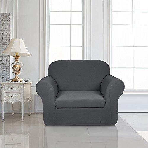 Subrtex 2-Piece Knit Stretch Sofa Slipcover (Chair, Gray)