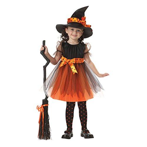 Kinder Mädchen Halloween Märchen Kostüm Kleid mit Kapuze, Orange Schwarz (Frau Power Ranger Kostüm)
