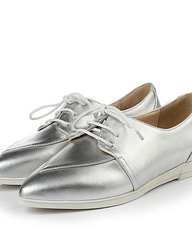 ZQ Scarpe Donna - Stringate - Formale - A punta - Zeppa - Finta pelle - Bianco / Argento , silver-us8 / eu39 / uk6 / cn39 , silver-us8 / eu39 / uk6 / cn39 silver-us7.5 / eu38 / uk5.5 / cn38