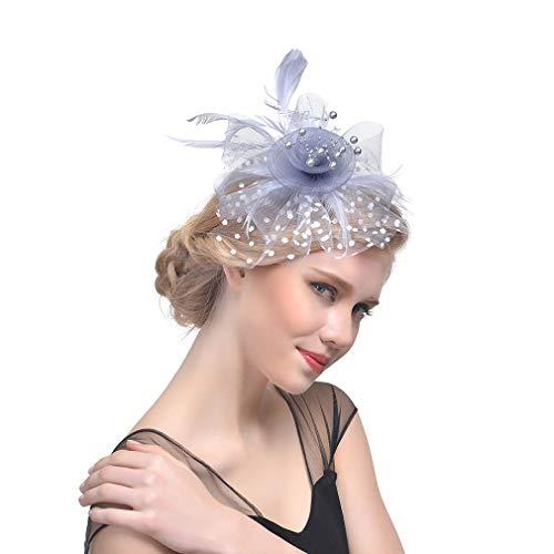eko Damen Fascinators Hut Cocktail Party Fascinator Haar Schmucks TeaParty Haar Clip Silbergrau ()
