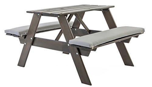 Kinder-terrasse-gartenmöbel (Ambientehome Kinder Picknickbank Garnitur Spielbank Spieltisch Bank VISBY, Taupegrau)