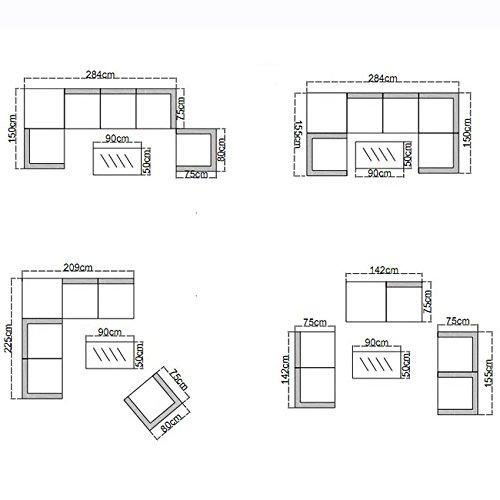 POLY RATTAN Lounge Gartenset Schwarz Sofa Garnitur Polyrattan Gartenmöbel inkl. Kissenbox - 3