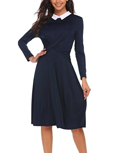 Meaneor Women Casual Long Sleeve Peter Pan Collar Cross Front Fit and Flare Empire Dress