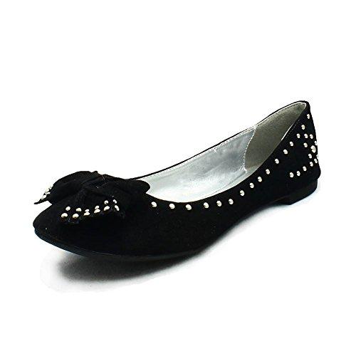 Donne stripe costellato scarpe piane / pompe Black