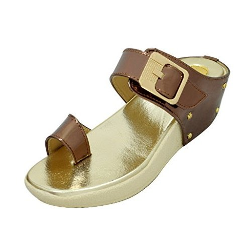 Miss. Polo Copper Wedge Heel Party Wear Sandals  available at amazon for Rs.421