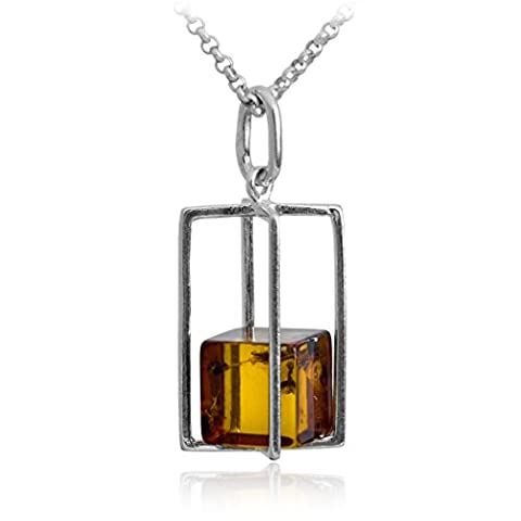 Amber Sterling Silver Millennium Collection Rectangular Pendant Cube Chain 46cm