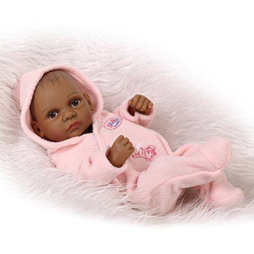 Nicery Reborn-Baby-Bad-Puppe Indisch Style Schwarz-Haut-harter Simulation Silikon-Vinyl 10inch 26cm Wasserdicht-Kind-Spielzeug-Rosa-Mädchen mit Acrylaugen Doll