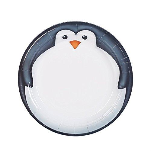 teller rund, biologisch abbaubar Umweltfreundlich Material Picknick Geschirr, 16zählt pinguin ()